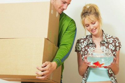 Couple moving in with pet fish --- Image by © Klaus Tiedge/Corbis